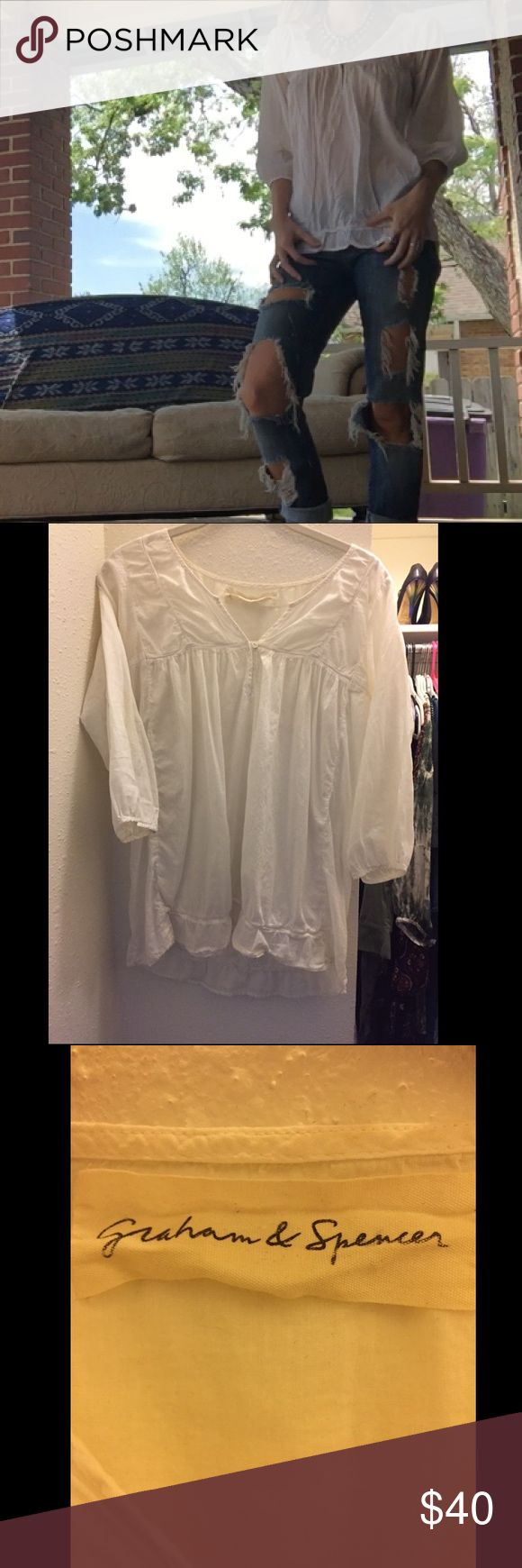 Graham & Spencer white babydoll tunic S/M babydoll tunic. This top is laced in beautiful details and has dreamy day time vibes. Gently worn with no damage. graham & spencer Tops Tunics