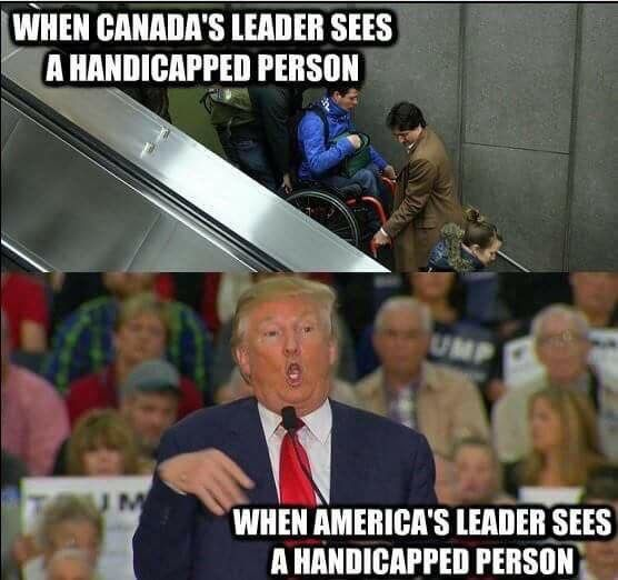 While we can admire Trudeau, we are ashamed of DT.