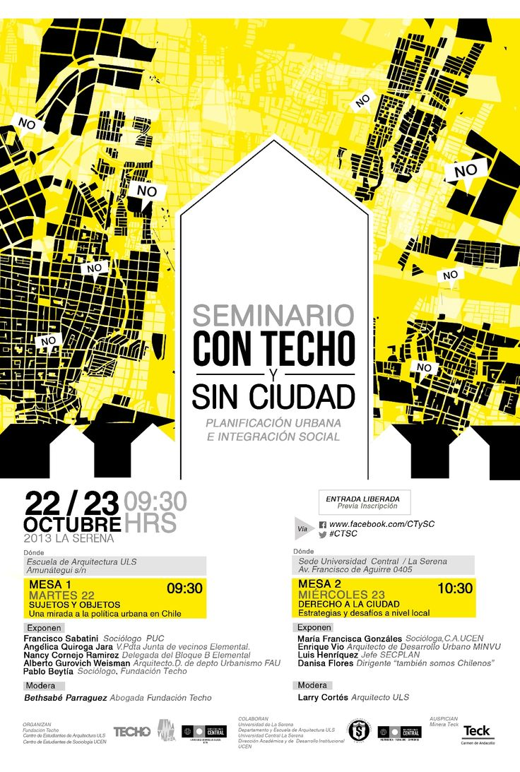 """#afiche  #seminario """"con techo y sin ciudad"""" 2013 #poster #graphic"""