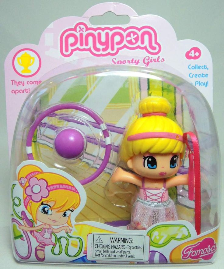 Amazon.com : Pinypon Sporty Girls - Blonde Girl with Hair in Top Bun - Whip…
