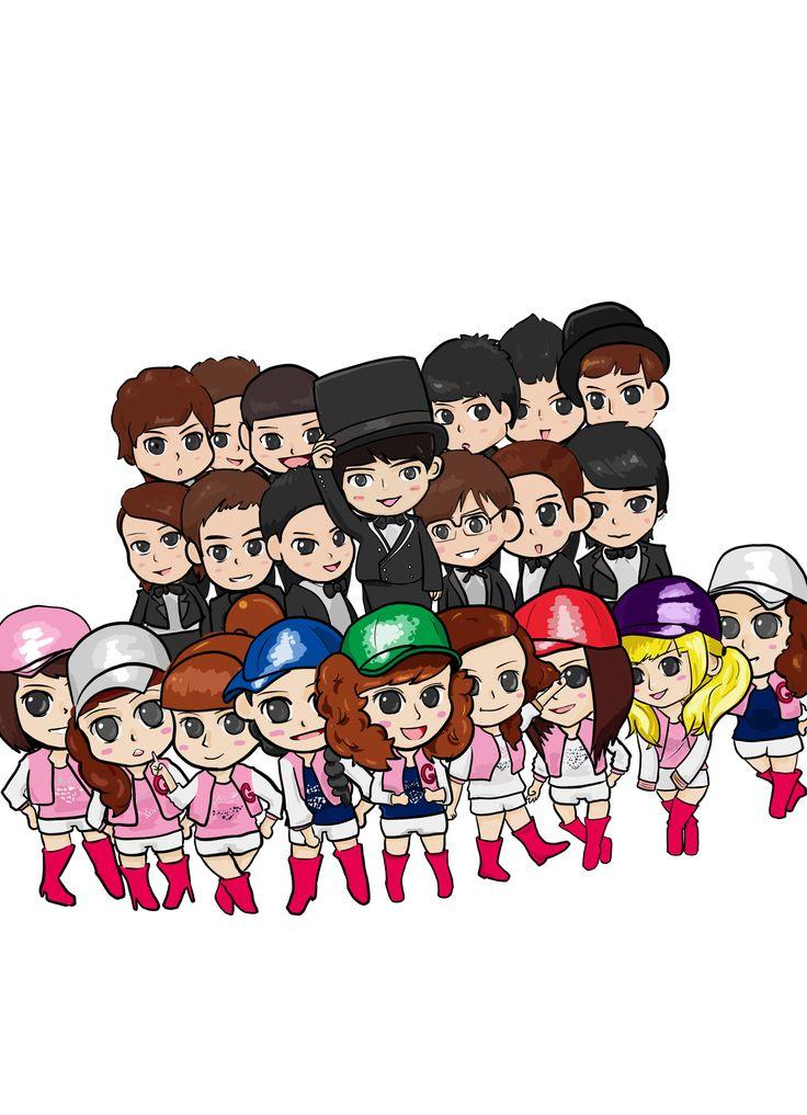 作品名稱:「韓語書Q版封面」  韓文書的Q版人物封面,以韓國偶像團體SJ、少女時代Q版化