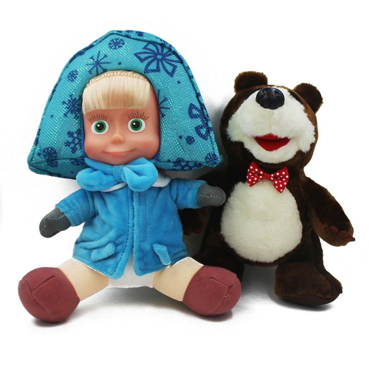 Masha And Bear Doll Plush Stuffed Toys Cartoon  Russian Movie Masha Dolls Soft Children's Toys Birthday Gifts