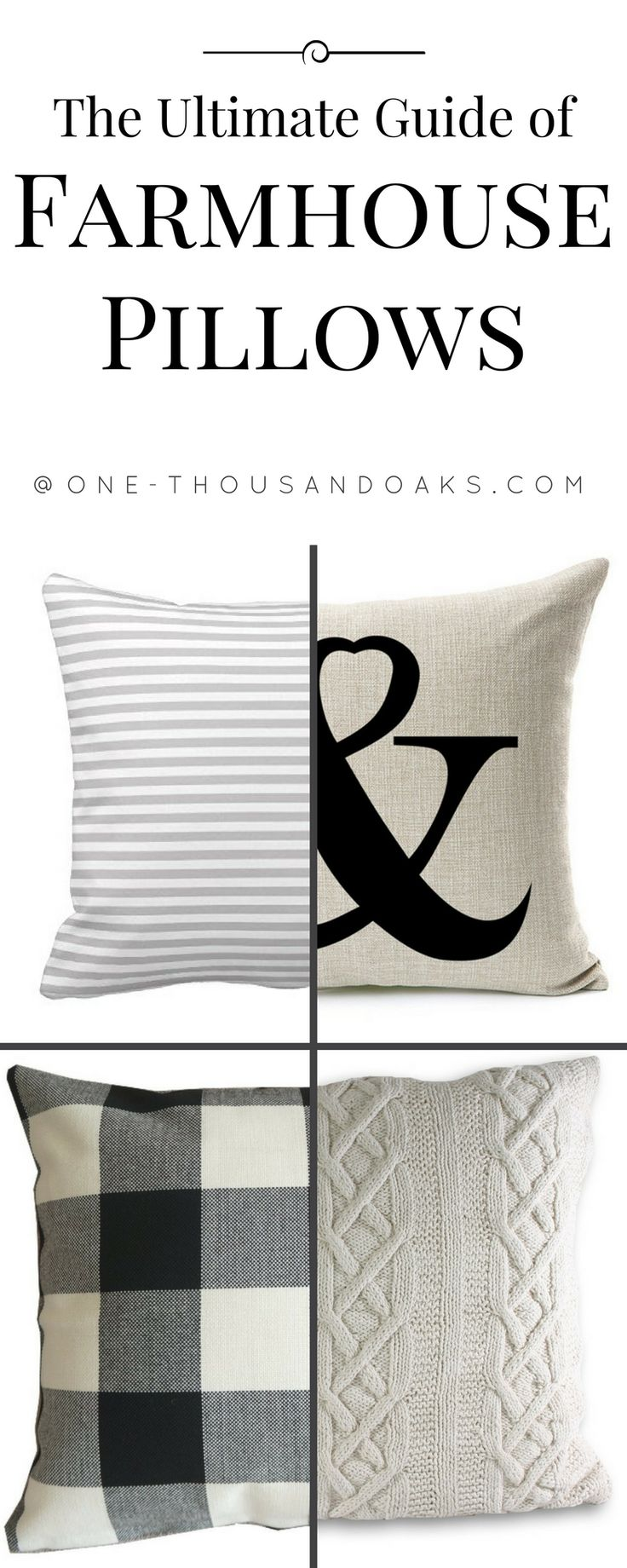 I love this Ultimate guide of farmhouse pillows on Amazon by One Thousand Oaks. So many adorable pillows!  |farmhouse | throw pillows | pillows