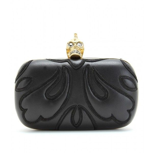 Alexander McQueen Embroidered Skull Box Clutch found on Polyvore