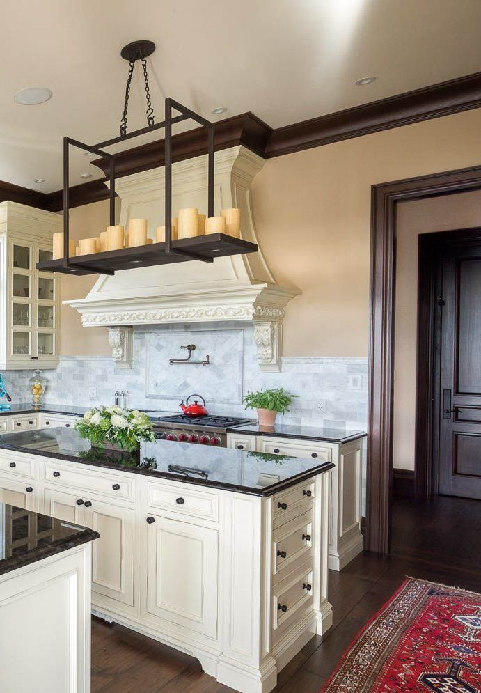 Black Granite Kitchen Countertop With, Distressed Black Cabinets With Granite Countertops