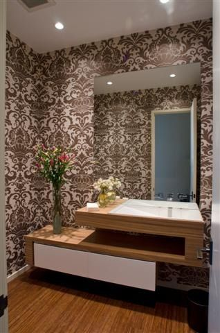 Modern lines and classic wallpaper | bathroom | 924 North Clark Street, Chicago, IL