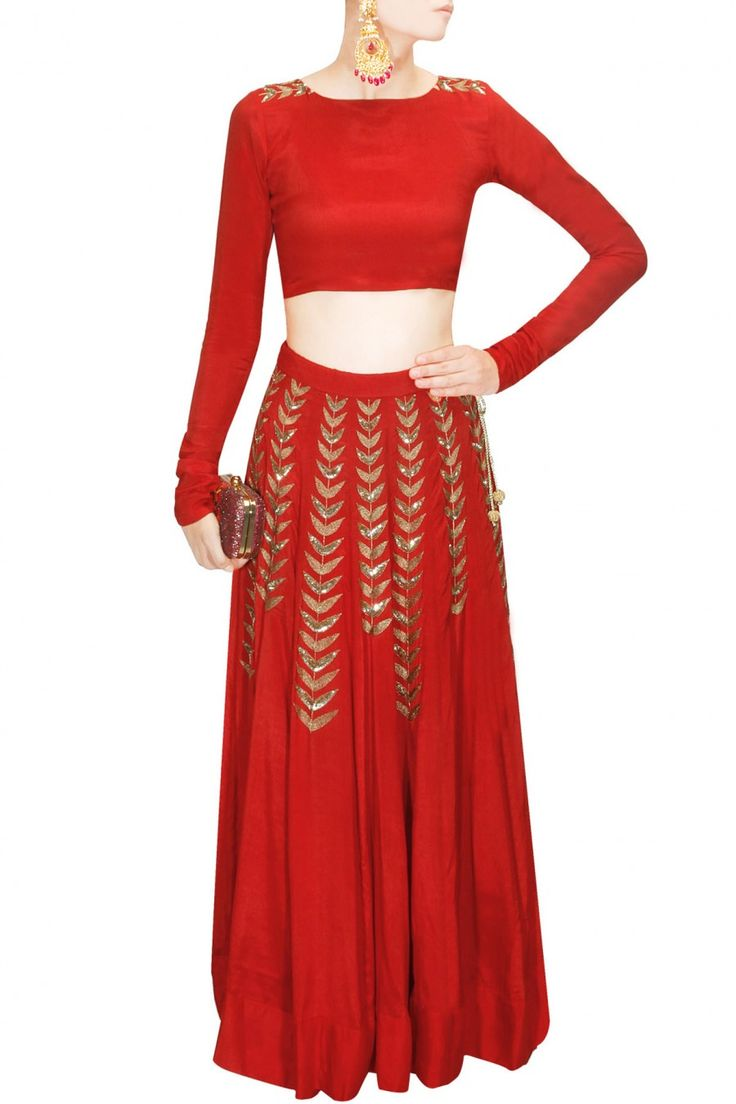 Avize modelleri salon avize modelleri pictures to pin on pinterest - Red Ferns Embellished Crop Top And Lehenga Skirt Available Only At Pernia S Pop Up Shop