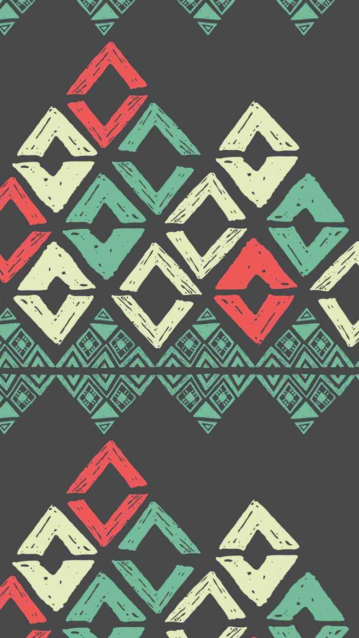 Vintage Black Background Tribal Print Big Chevron iPhone 6 Plus Wallpaper - Square Pattern,