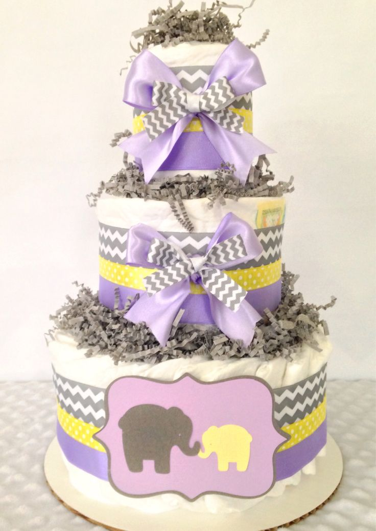 Chevron Elephant Diaper Cake in Lavender, Gray and Yellow, Girl Baby Shower Centerpiece by AllDiaperCakes on Etsy