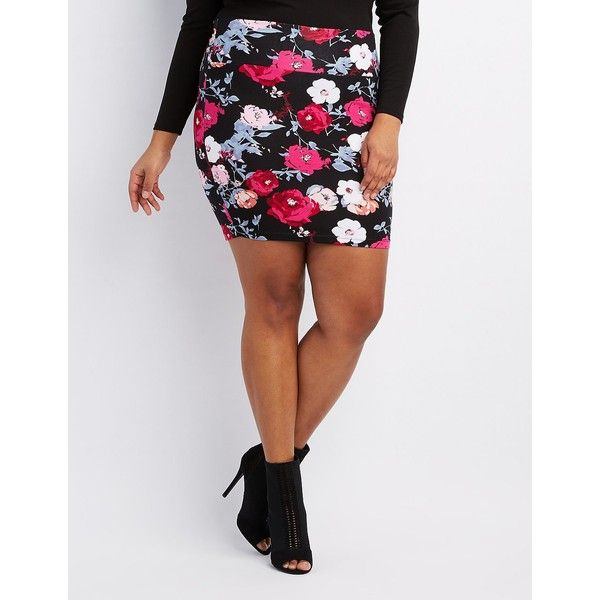 Charlotte Russe Floral Bodycon Mini Skirt ($14) ❤ liked on Polyvore featuring plus size women's fashion, plus size clothing, plus size skirts, plus size mini skirts, womens plus size skirts, embellished mini skirt, bodycon skirt, mini skirt and pink floral skirt