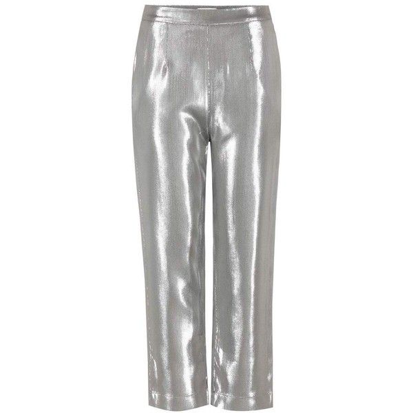 Isa Arfen Metallic Trousers (16,395 MXN) ❤ liked on Polyvore featuring pants, metallic, silver metallic pants, metallic pants, metallic trousers, green pants and green trousers