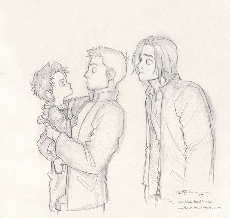 captbexx:  I love de-aging people, so here's de-aged Cas. ^-^ And Dean and Sam. XD