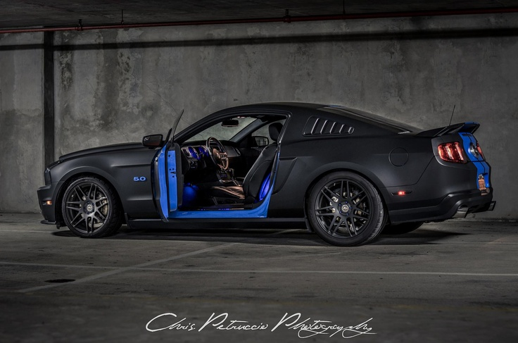 Black and blue Mustang  Black Car Photography  Pinterest  Blue