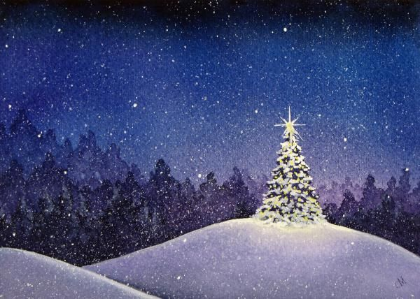 Christmas Eve Painting - Christina Meeusen..... I am painting something like this on a canvas and giving it to my mom :)