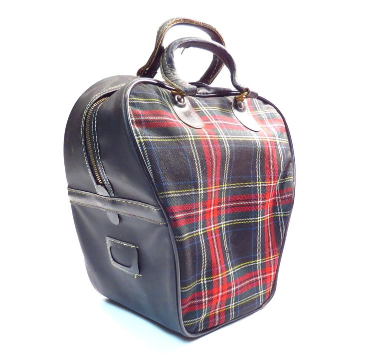 Red and Black Plaid Westchester Bowling Bag Vintage 1950s 1960s Retro Rockabilly Bowling Ball Bag Overnighter by VintageCreekside on Etsy