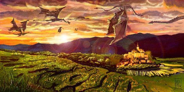 Драконы над замком | Галерея драконов, изображения драконов, картинки драконов, рисунки драконов