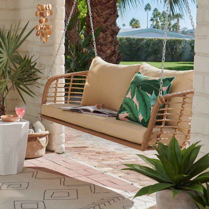 Belham Living Bali All Weather Wicker Porch Swing Wicker Porch