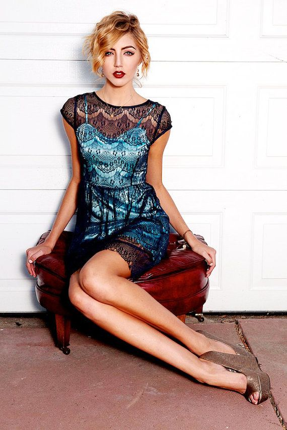 Pink dress blue laced