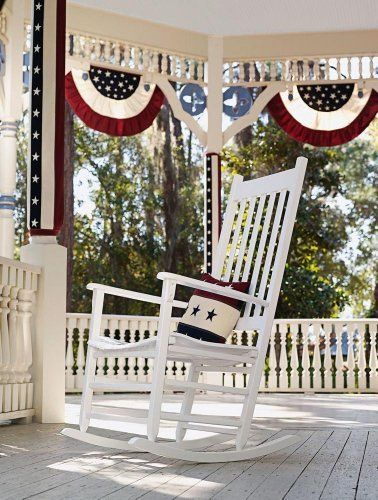 """Small Tea Stained Patriotic Bunting by House-Impressions. $22.99. High Quality Fabric. Vivid Color Process. Permanently Dyed. Fade & Mildew Resistant. Weather Proof. What adds more patriotic style to a white picket fence than this red white and blue swagged, full fan bunting?  Tea stained to add an antiqued look to this cotton material,   29"""" across the top (which includes 3 grommets for easy hanging), and swagging to 16"""" at it's widest, the bunting/flag is simply the easies..."""