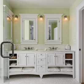 I like this for kids bathroom.  Maybe we could take out linen closet for more room?