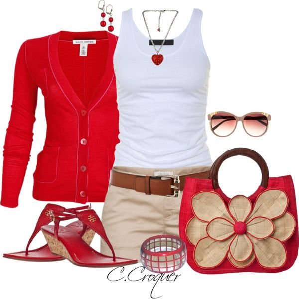 Like the red and khaki by ccroquer on Polyvore