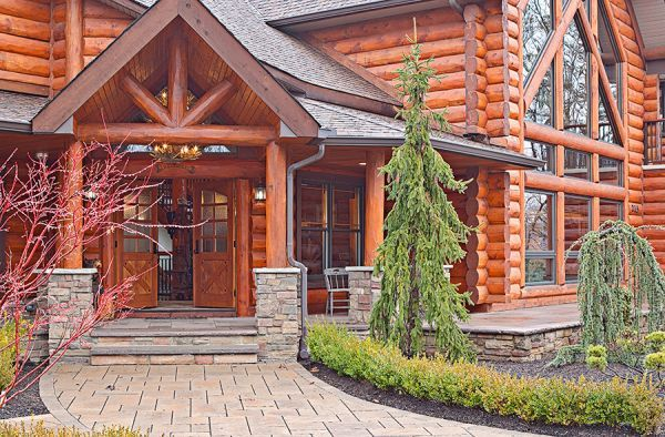 Custom hybrid log homes timber frame homes photo for Custom a frame homes