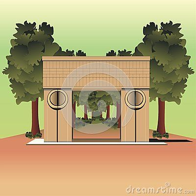 Illustration of the #Constantin #Brancusi's #Gate of the #Kiss #sculpture from #Targu #Jiu city, Romania