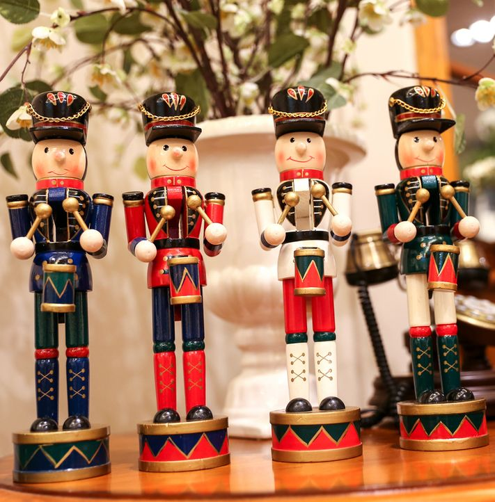 Guard Christmas Holiday Nutcracker Soldier Vintage German Wooden Table Decor                                   Size: 30*10.5cm