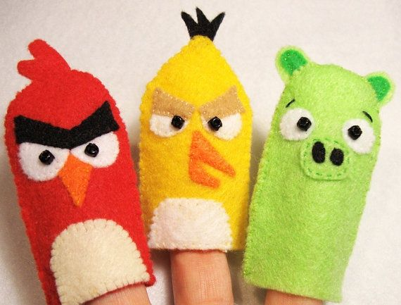 Angry birds felt finger puppets