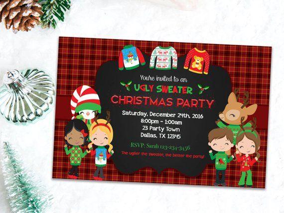 Ugly Sweater Invites Printable Christmas Invitation Holiday Invitations Ugly Sweater Party Invites, Xmas Party Invitations