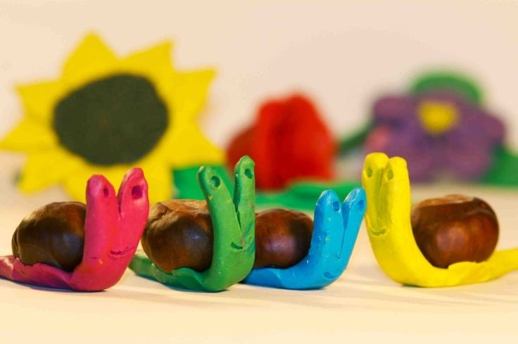 activités manuelles automne: escargots en marrons et fimo