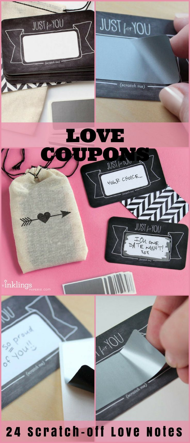 24 Scratch-off Love Notes or Valentine's Day Love Coupons //Mini Cotton Drawstring Bag, love coupons, DIY anniversary or valentines day gift #ad