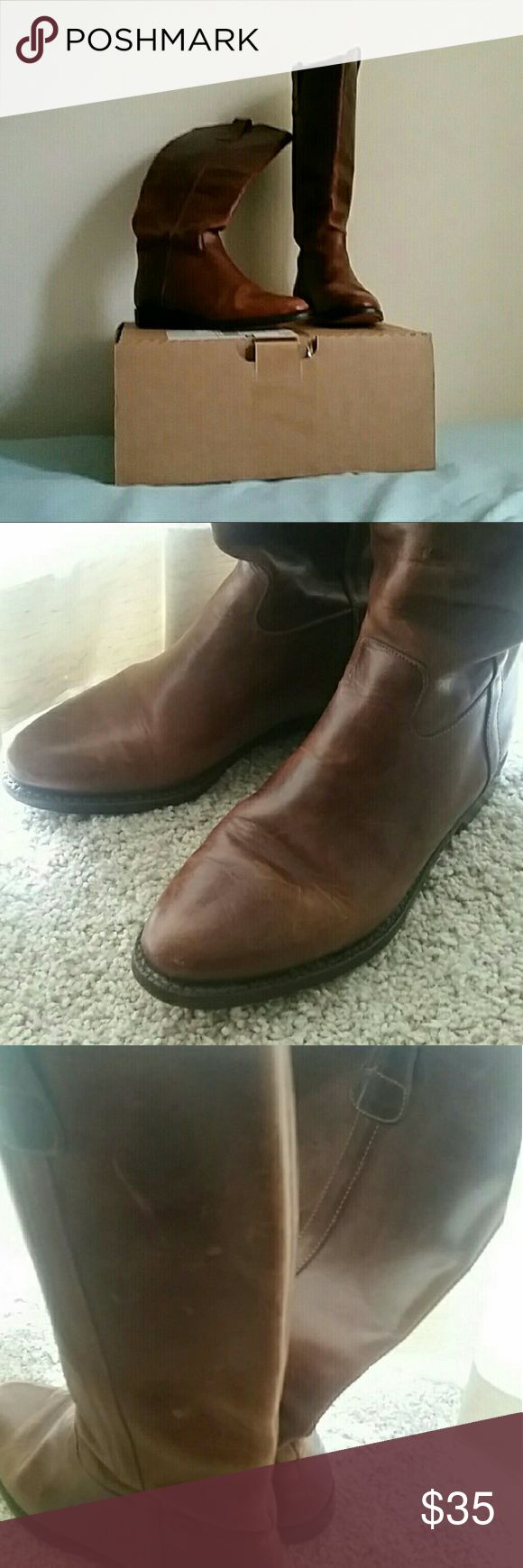 """Cole Haan Brown Leather Riding Boot 7.5 Cognac color. Have worn look to them. Minor scuffs and some wear to soles. They pull on and aren't terribly worn in so pulling them off and on takes a minute. My calves are about 14"""" and I can wear these with thin skinny jeans or leggings. Cole Haan Shoes"""