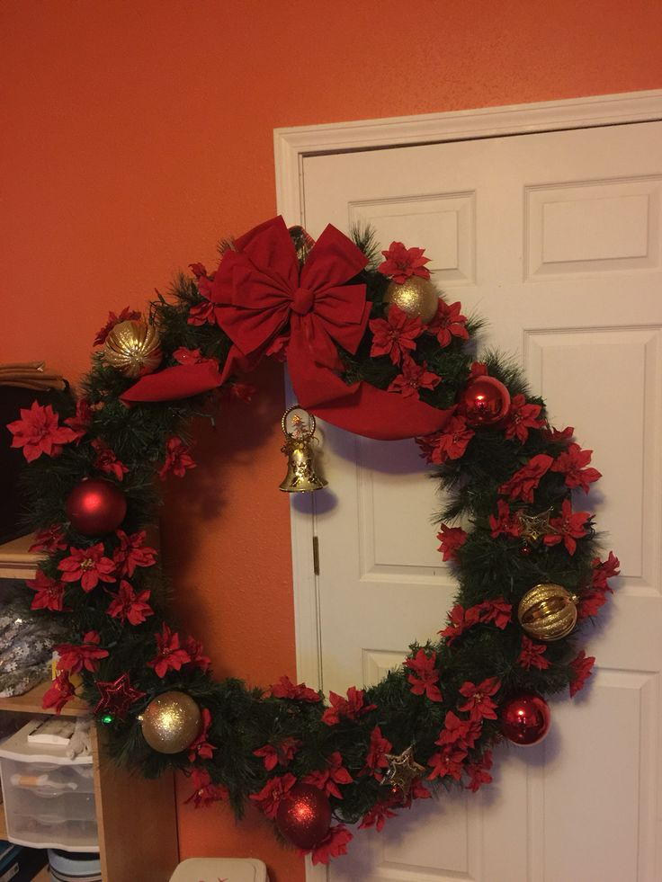 Wreath Made From A Weighted Hoola Hoop Christmas