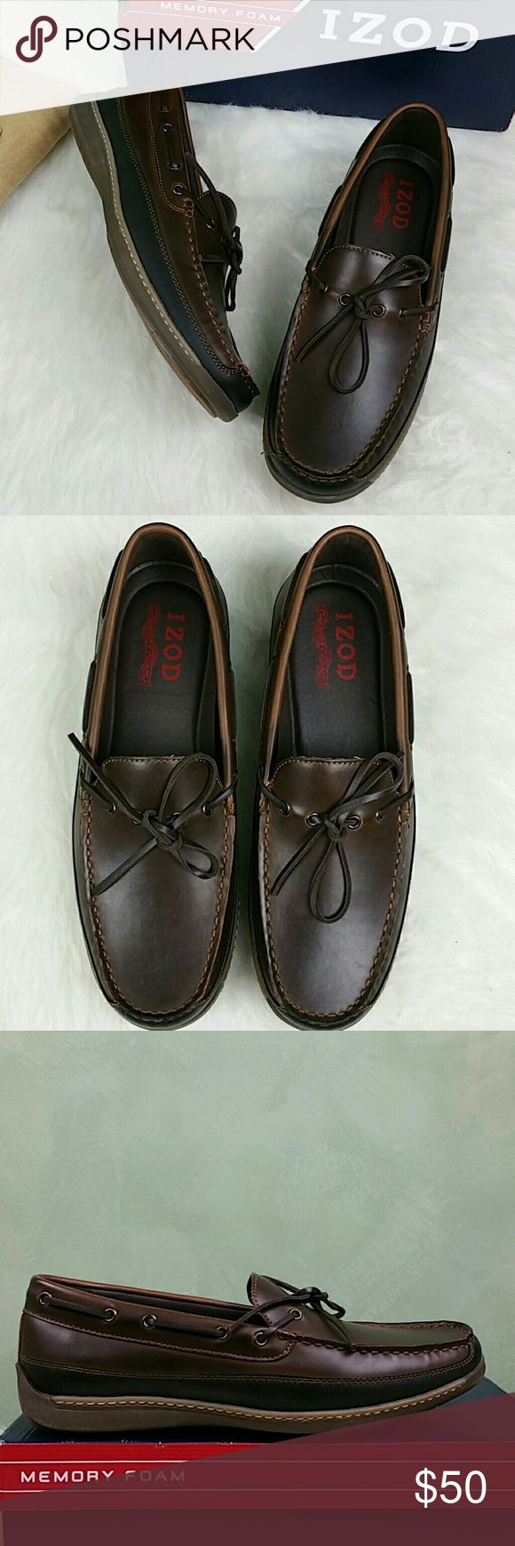 Izod Men's Heller Boat Shoe, Brown, Size 11M Izod Men's Heller Boat Shoe New with box  Size: Men's U.S. 11 M, EUR 44 -45 Color: Brown   Material: Synthetic Rubber sole Memory foam innersole Flexible Sole Izod Shoes Loafers & Slip-Ons