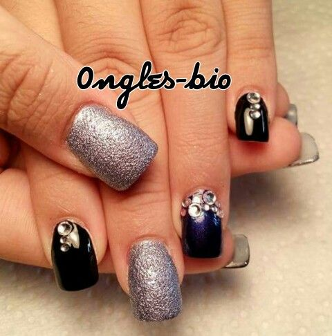 Nail black blue and silver