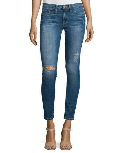 Frame+Denim+Le+Skinny+De+Jeanne+Distressed+Ankle+Jeans+Jewell+|+Pants,+Clothing+and+Workwear