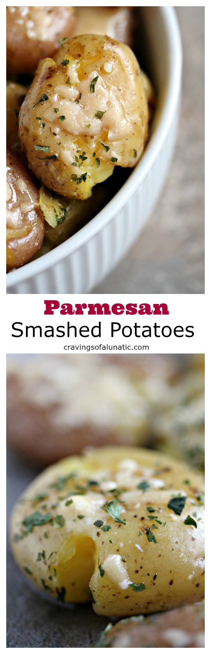 Parmesan Smashed Potatoes from cravingsofalunatic.com- Parmesan smashed potatoes are a family favourite in our household. They're a great alternative to mashed potatoes for the holidays, or all year long. #sidedish #potatoes #parmesan #dinner