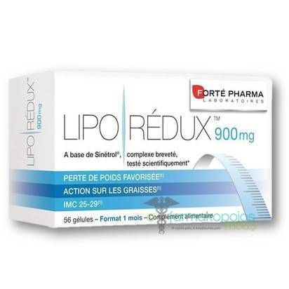 Forte Pharma  Lipo Redux 900mg  Αδυνατιστικό Για Υπέρβαρα Άτομα  56 Κάψουλες    Α) Μείωση του σπλαχνικού λίπους  Β)Μείωση της περιφέρειας μέσης - ισχίων - κοιλιάς  Γ)Απομείωση του οξειδωτικού στρες  Δ)Απομείωση των ...