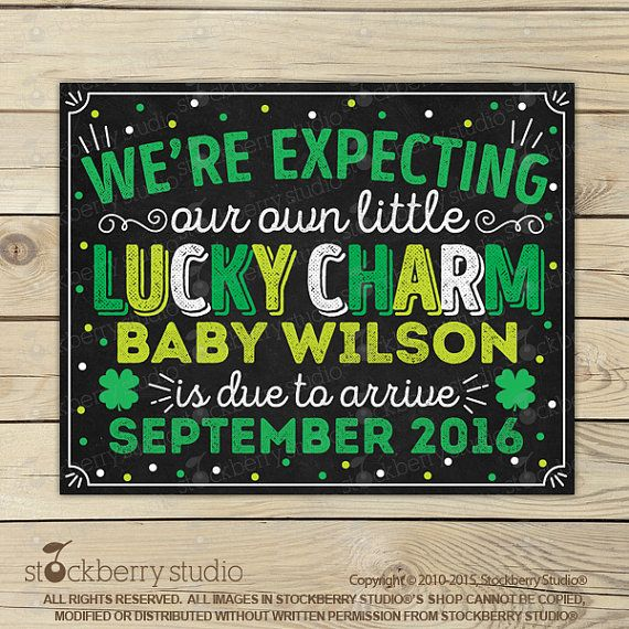 St Patrick's Day Pregnancy Announcement Chalkboard Sign Printable - St Patricks Day Baby Announcement Sign - Pregnancy reveal Digital