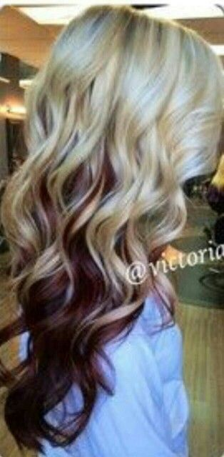 Love this! Blonde with red underneath! Except with darker blonde and lighter red.
