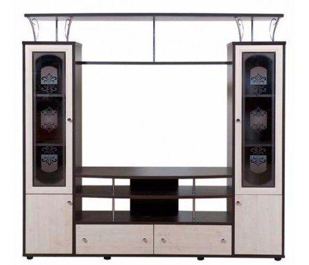 Многофункциональная гостинаяСимфония 5.10изготовлена из ламинированного ДСП. Стеклянные дверцы универсальных шкафов декорированы витражным рисунком и оформлены в раму из МДФ. В состав входит: открытая секция, где можно разместить телевизор с диагональю до 50 дюймов, универсальные шкафы с застекленными витринами для посуды, сувениров или книг, два ящика и открытые полки. Эта гостиная наилучшим образом сочетает в себе многофункциональность и стильный внешний вид,  цена снижена на 15%..