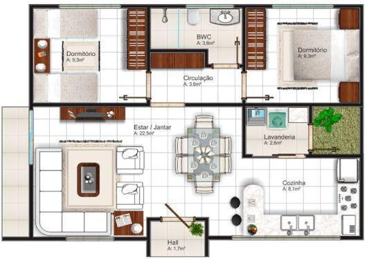 Projeto de casa 2 dormitórios pequena com armário embutido