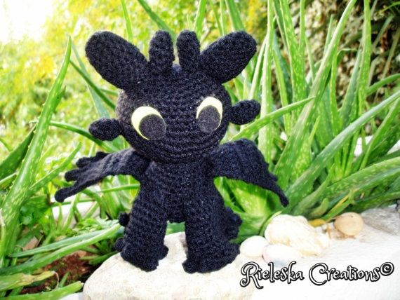 Pdf Crochet Pattern- Toothless Dragon Night Fury amigurumi  size: 7 inches , 18 cm  Price is for the pattern only, not the finished product.  *Worsted weight yarn and hook size: 3,50mm*  There is no shipping charge for this item, as it is a PDF file and will be sent almost direct of payment. If you dont receive it within 24 hours, please, contact me.  All patterns are written in standard American terms.  You can always contact me if you have any problems with the pattern. These patterns are…