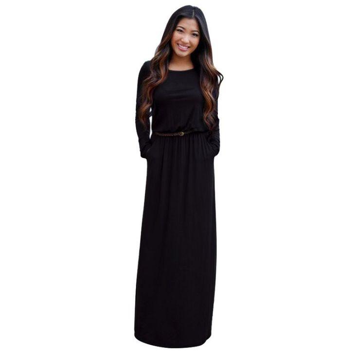 Woman Autumn Fashion Pocket Long Sleeve Long Maxi Dresses Femme Vestidos Femininos Black Dress Plus Size