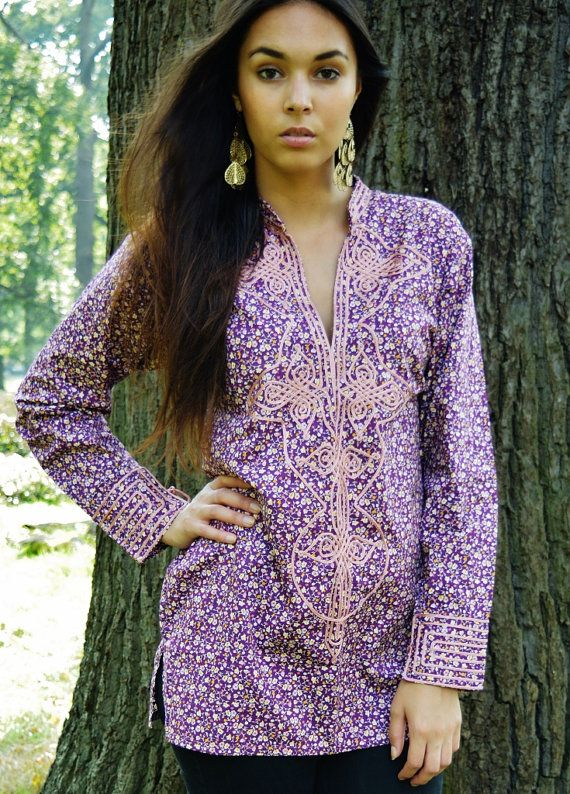 Winter Purple Violet Floral Tunic Aisha- perfect for resort wear, boho wear, birthday gifts, casual wear, winter clothing, christmas gifts