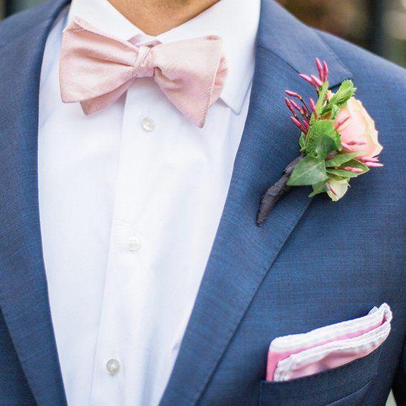 Blush Bow Tie Self Tied Wedding Bowtie In Blush Pink Etsy Blush Bow Tie Blush Bow Tie Groomsmen Bow Tie Wedding
