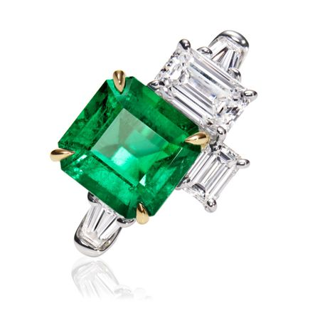 Central Park by Harry Winston, Emerald and Diamond Three Stone Ring