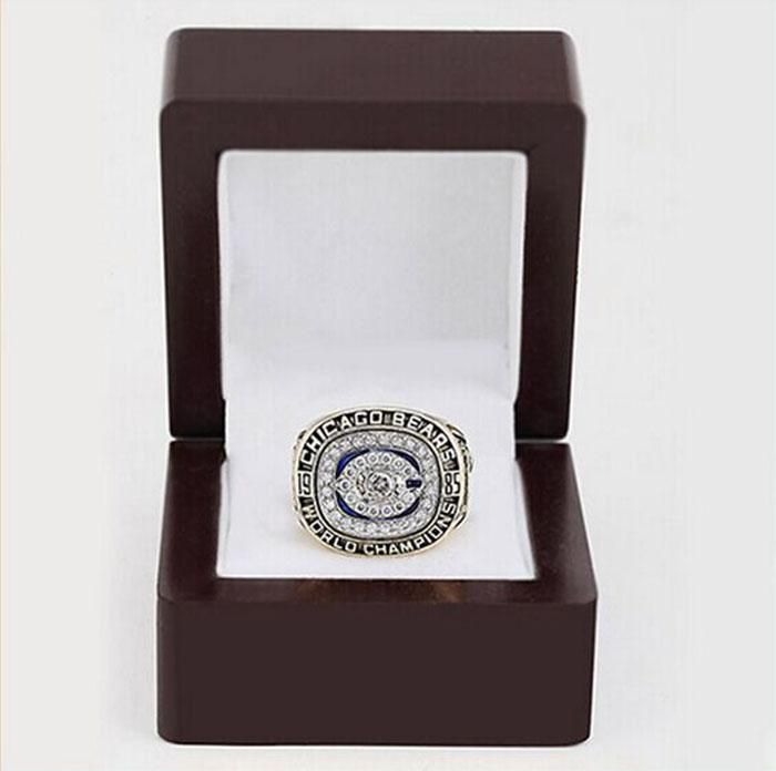 [Visit to Buy] Wholesale N.F.C Brass 1985 Chicago Bears Replica Copper High Quality sports world Championship Rings with Gorgeous Wooden Boxes #Advertisement