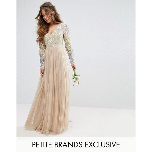 Maya Petite Long Sleeve V Neck Tulle Maxi Dress With Multi Colour... (£115) ❤ liked on Polyvore featuring dresses, multi, petite, maxi dresses, color block maxi dresses, sequin dress, petite length maxi dresses and sequin maxi dress